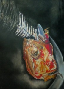 Red Snapper II; charcoal and pastel